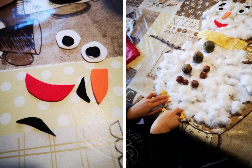 creare pupazzi di neve con i bambini
