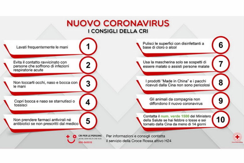 Consigli croce rossa italiana sul coronavirus