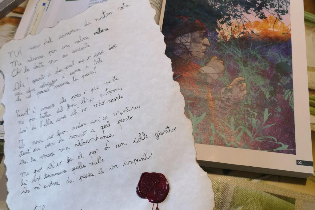 Dante, pergamena, sigilli e pennini